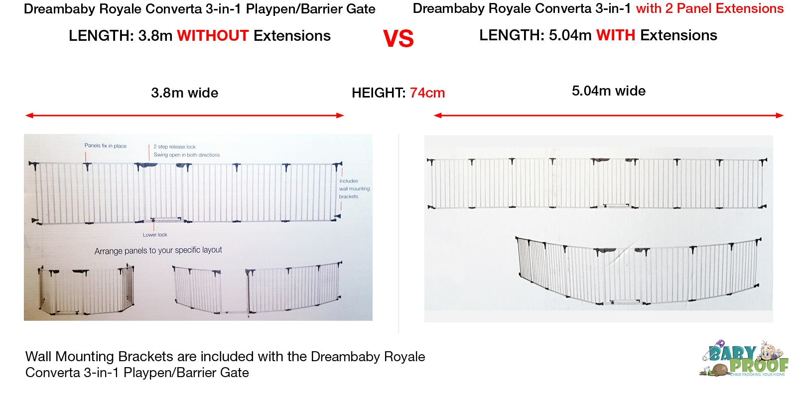 Dreambaby-Royale-Converta-Barrier-Gate-with-2-Panel-Extension-vs-without-5.04mMax
